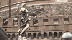 Sant'Angelo Castle Stone Walls and a Beautiful Statue Symbolizing Medieval Art. Stock Footage