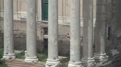Ancient Construction from Roman Empire Period Columns Remains from a Temple. Stock Footage