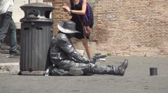 Street Actor Mimicking a Cowboy Statue in Rome City Touristic Center. Stock Footage