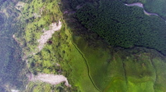 Aerial view of Great Aso mountain ridge Stock Footage
