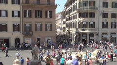 Piazza di Spagna at the Bottom of Spanish Steps One of Famous Squares from Rome. Stock Footage