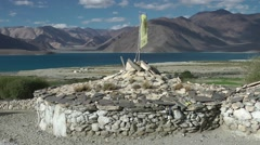 Round stone house in himalaya,Pangong,Ladakh,India Stock Footage