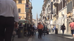 People Walking in Rome City on Street with Italian Buildings Architecture.  Stock Footage