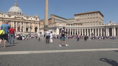 St. Peter's Square Large Plaza Front of St. Peter's Basilica in Vatican City. Stock Footage