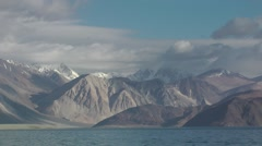 Pangong lake with mountains and clouds,Pangong,Ladakh,India Stock Footage