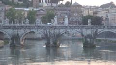 Ponte Vittorio Emanuele II Bridge Across the Tiber in Rome Historical Center. Stock Footage