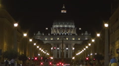 Night View Via Della Conciliazione Avenue with Traffic Lights and Many Tourists. Stock Footage