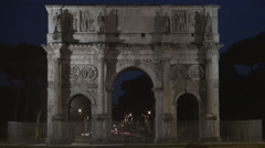 Arco di Costantino Lighted in Night View Triumphal Arch Roman Historic Monument. Stock Footage