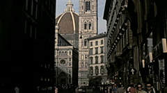 Florence 1979: people walking in front of the Duomo Stock Footage