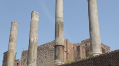 Impressive Columns Ancient Remains in Palatine Hill Area Rome Historical Center Stock Footage