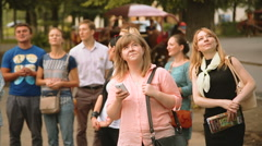Tourists see the sights Stock Footage