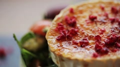 Goat cheese salad with vegetables at restaurant Stock Footage