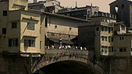 Florence 1979: people resting in Ponte Vecchio Stock Footage