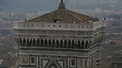 Florence 1979: people on the top of the Duomo tower Stock Footage