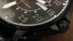 Black wristwatch with moving second hand Stock Footage