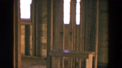 1954: the interior of a building furnished in wooden structures HICKSVILLE Stock Footage