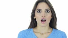 Shock, Upset Beautiful Brunette Woman on White Background Stock Footage