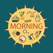 Good morning thin line vector template Stock Illustration