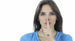 Young Girl Showing Gesture of Silence, Secret Stock Footage
