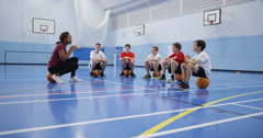4k, School children in physical education class indoors. Stock Footage
