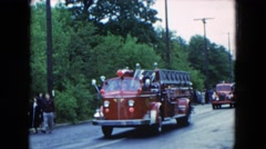 1954: the vintage fire engine parade comes to a halt due to breakdown. Stock Footage