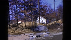 1954: back road featuring a white church in the distance HICKSVILLE, NEW YORK Stock Footage