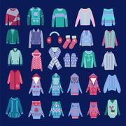 Fashion Collection  of cozy winter clothes and accessories Stock Illustration
