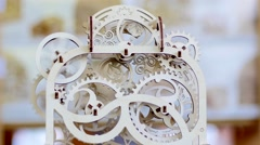 Wooden puzzle conundrum game - mechanism with rotating gears Stock Footage