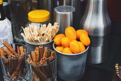 Making mulled wine for sale at country fair Stock Photos