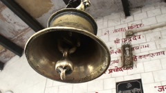 The big bell in the Hindu temple Stock Footage