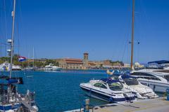 Beautiful views city of Rhodes Stock Photos