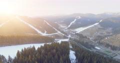 Ski resort in mountains. 4k, 25fps Stock Footage