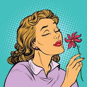 Beautiful woman inhaling fragrance of a flower Stock Illustration