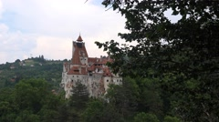 Aerial view of Bran Dracula Castle Transylvania land 4k UHD Stock Footage