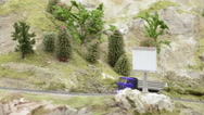 Mountain serpentine road and the truck with sand Stock Footage