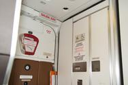 Interior of lavatory onboard , a airplane toilets Stock Photos