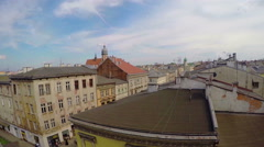 KRAKOW, POLAND -: View from the balcony on the streets Stock Footage