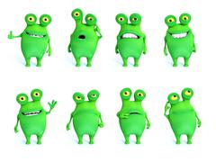 3D rendering collection of charming green monsters. Stock Illustration