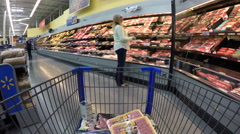Woman shopping meat department market store POV 4K Stock Footage