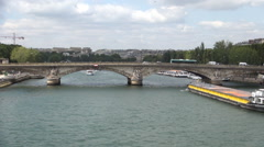 Time Lapse Paris Traffic Transportation Boat Under Seine River Bridge. Stock Footage