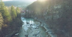 Flight over mountain river. 4k, 25fps Stock Footage
