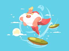 Cartoon superhero with cape Stock Illustration