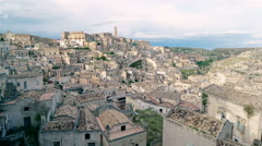 Typical  view  of stones (Sassi di Matera) and church of Matera Stock Footage
