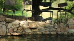 Four Chairs Outdoors Next Nature Forest Stone Stream River Stock Footage