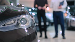 Headlight of the electric car Stock Footage