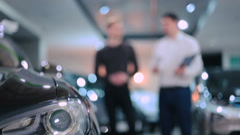 Big headlight of electric car Stock Footage