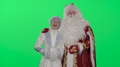 Ded Moroz (Santa Claus) and snow maiden happy New year and Christmas Stock Footage