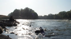 River rapids, fishing Stock Footage