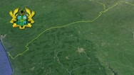 Brong-Ahafo with Coat Of Arms Animation Map Stock Footage