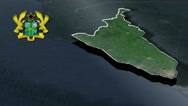 Central with Coat Of Arms Animation Map Stock Footage